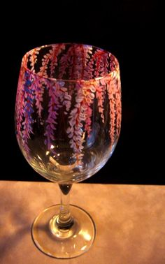 Hand Painted Wine Glass Delicate Wisteria by NewHopeElizabeth,