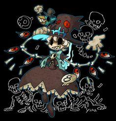 Skullgirl!Peacock  http://www.pixiv.net/member_illust.php?mode=medium&illust_id=39577609