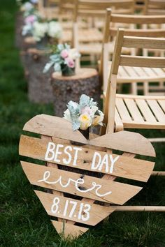 tree stump wedding aisle and wooden heart wedding decor