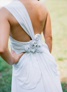 gorgeous draping on the back of this wedding gown | Melissa Schollaert #wedding