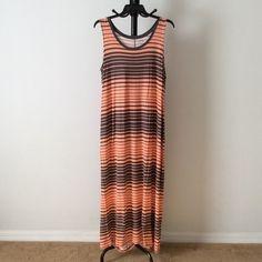 NWT Orange with grey striping dress Full length dress. 95% rayon. 5% spandex.  zqfrfrqz Apt. 9 Dresses