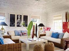 The decorator blends natural elements, chinoiserie details, and strategic splashes of vibrant color at her impeccably chic Bahamas getaway