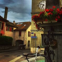 One of many #fountain s and #clocktower s in #nyon , #switzerland — #swiss