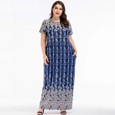Plus Size Short sleeve O-Neck Floor-Length maxi Dress #maxidress #plussize #Lengthdress #casualwear #casualstyle #casualoutfits #Printed