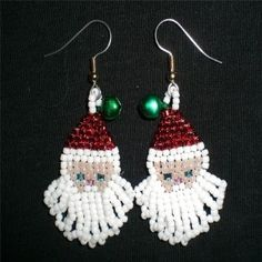 beaded holiday earings | ... some festive santa earrings for the holiday season these earrings are