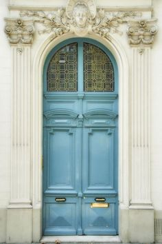 """Light blue door and ivory facade, Marais district, Paris, France. Previous pinner wrote: """"Taken by my sister Cheryl in the Marais district of Paris, for me. (I was almost in the photo! Grand Entrance, Entrance Doors, Doorway, Front Doors, Cool Doors, Unique Doors, Porte Cochere, When One Door Closes, Closed Doors"""