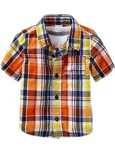 Toddler boy, summer look! Plaid Poplin Shirts for Baby | Old Navy