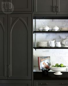 Mix of open and covered shelves