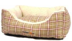 AlphaPooch Cuddler Rectangular Bolster Dog Bed, Red and Tan Plaid Fabric with Fleece, Medium: Pet Supplies Bed Pink Dog Beds, Pet Beds, Colored Weave, Bolster Dog Bed, Red Bedding, Plaid Fabric, Happy Animals, Bed Styling