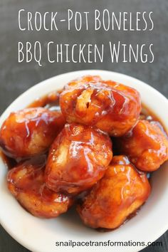 These crock-pot boneless chicken BBQ wings are fork tender and dripping in sauce. Save money have wing night in.