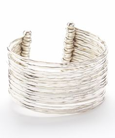 #18 #rows of #thin #hammered #silver in #one #bracelet