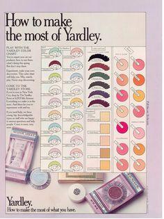 Yardley of London makeup vintage 1972 (I loved Yardley cosmetics! I think I had everything in the line. Retro Makeup, Vintage Makeup, Vintage Vanity, Vintage Beauty, Vintage Fashion, 1970s Makeup, Makeup Ads, 70s Fashion, Vintage Advertisements