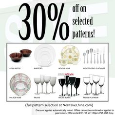 30% off this weekend on selected patterns! Details in image. http://bit.ly/1EnCd4r #sale #noritake #tablescapes