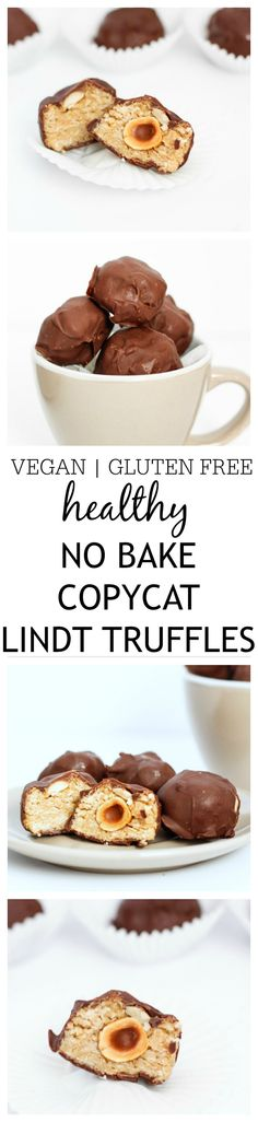 These copycat Lindt Truffles are the perfect treat to impress your guests without going to any effort! No bake, gluten free, vegan and a healthier