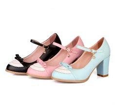 Cute Bow Lolita Shoes. Three Colours Available - Thumbnail 3