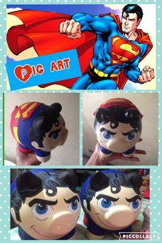 Alcancias pintadas a mano Personalized Piggy Bank, Pig Art, Diy Painting, Ceramics, Superhero, Teacup Pigs, Craft, Hand Made, Bricolage