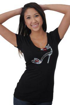 RED BOTTOM High Heel SHOE Rhinestone T-shirt | Fashion Rhinestone ...