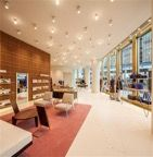 World Architecture Community News - David Chipperfield Architects opened Bally Flagship Store in Tokyo Metal Furniture, Furniture Design, One Canada Square, David Chipperfield Architects, Tokyo Shopping, Timber Walls, Glass Facades, Store Design, Second Floor