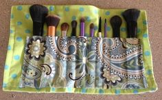 Sewing project. Shown with mskeup brushes but it could easily be made for art supplies.