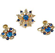 Vintage Coro Brooch Earrings Set  The set consists of a brooch and screw back earrings  Approximate measurements: Brooch - 1 inch in diameter,