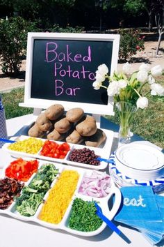 Summer cookout food ideas or for any party with a crowd. Love this potato bar idea for a BBQ party or ANY party block party food recipe Food Ideas for a BBQ Party - EASY Summer Cookout Foods We Love Bbq Party, Lake Party, Summer Bbq, Summer Parties, Party Food Bars, Bar Food, Baked Potato Bar, Baked Potato Toppings, Birthday Bbq