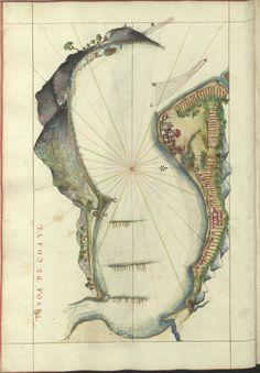 """Cod. 8033 - 16746 - 52 --  João de Castro (1500-1548)  """"Roteiro da costa do norte de Goa, ate Dio, no qual se descrevem todos os portos, alturas, sondas, demarcações, diferenças de agulha que ha em toda esta costa"""". [16--].  BNP Cod. 8033"""