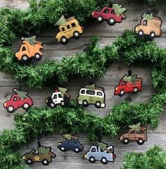 "Vintage wool Ornament PATTERN ""Bringing Home the Tree"""