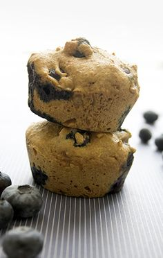 Blueberry Protein Muffins | Get your protein in every morning with these muffins. Perfect to toss in your gym bag for post workout.