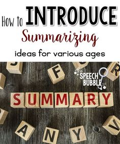 Summarizing can be a tricky goal to target.  Here are some ways to approach this skill!