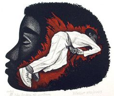 "The Torture of Mothers, 1970 Elizabeth Catlett, Lithograph, 20"" x 13"""
