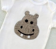 Baby Hippo Appliqued Onesie by vpettet on Etsy  #pinhonest