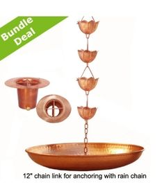 Copper Lotus Rain Chain 8.5 ft +  Copper Gutter Adaptor / Reducer with Filter + 18 inches Copper Hammered Anchoring Basin.  Sale Price $165.95