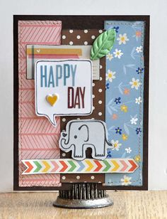 Happy Day - by Jill Cornell using the Amy Tangerine Ready Set Go collection from American Crafts. #card #cardmaking #amytangerine