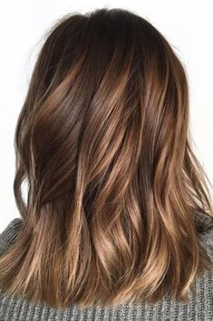 Looking for most pretty demanding hair color ever? See here the most great ideas of various balayage hair colors. Balayage is a French hair coloring technique where the color is painted on the hair… Brown Shoulder Length Hair, Shoulder Length Balayage, Brown Mid Length Hair, Honey Balayage, Brown Balayage, Balayage Hair Brunette Caramel, Fall Balayage, Balayage Color, Caramel Ombre Hair