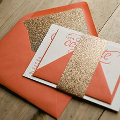 NICOLE Suite Glitter Package, gold and coral wedding, glitter wedding invitations, letterpress wedding invitations, http://justinviteme.com/collections/styled-collections/products/nicole-suite-glitter-package