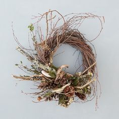 New for fall: a wild-crafted wreath, handmade from birch twigs, lichen branches…