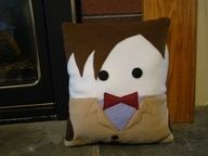 Doctor Who inspired plush pillow,  Matt Smith, 11th Dr decorative pillow. $30.00, via Etsy.