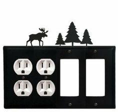 Moose & Pine Trees - Double Outlet and Double GFI Cover by Village Wrought Iron. $18.32. Moose & Pine Trees - Double Outlet and Double GFI CoverApprox. 8 1/4 In. W x 8 In. H Please allow 4 to 6 weeks for delivery.