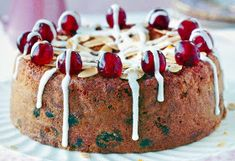 Cherry and Almond Cake: A sponge cake containing grated marzipan and fruit in the batter served topped with cherries and white icing. A great alternative Christmas or Easter Cake