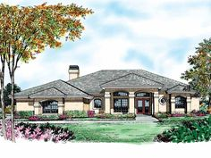 Mediterranean House Plan with 2385 Square Feet and 4 Bedrooms(s) from Dream Home Source | House Plan Code DHSW18463