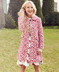 Reese Witherspoon in the Audrey Jacquard Scallop Coat | Draper James Spring '16