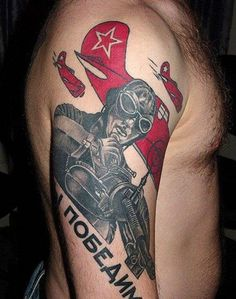 Russian soviet soldier tattoo with red star
