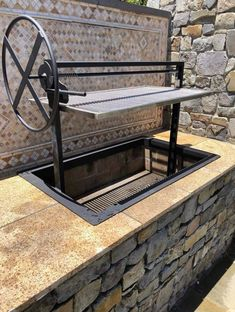 Items similar to Santa Maria Countertop Drop In Frame with Expanded Diamond Grate by JD Fabrications on Etsy - Outdoor Kitchen Bars Outdoor Bbq Kitchen, Outdoor Barbeque, Backyard Kitchen, Outdoor Kitchen Design, Outdoor Cooking, Backyard Patio, Fire Pit Grill, Bbq Grill, Brick Bbq