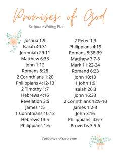 The Promises of God Printable List ~