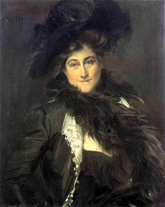 Artist, Giovanni Boldini, portrait of, Mrs. Stanford White. Wife of Gilded Age NYC. architect.