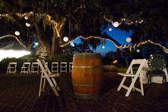 Wedding Wine Barrels, Outdoor Wedding, Fall Wedding, Hanging Lanterns, Wedding Lanterns, Pawleys Island,
