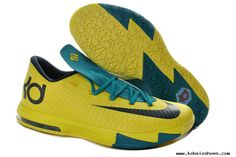 first rate 16445 69b31 Womens NIKE KD VI 6 SEAT PLEASANT Yellow Teal-Navy Basketball Shoes Nike  Basketball Shoes