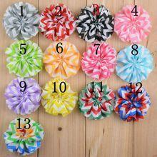 Gasa con volantes Chevron bailarina flores de tela para bebés accesorios para el cabello mano del arte DIY 6.5 cm 13 colores 30 unids/lote(China (Mainland))
