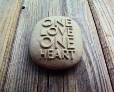 One Love One Heart - engraved pebble 25$ #love #stone #engravedstone #wedding