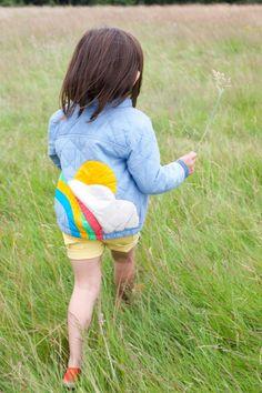 Rainbow sunset quilted denim jacket. Loves this, makes me nostalgic. #designer #kids #fashion